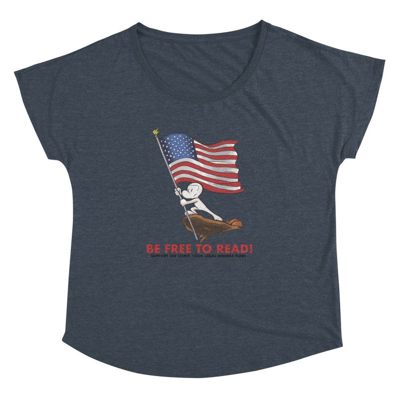 BONE with FLAG by JEFF SMITH Women's Dolman Scoop Neck by COMIC BOOK LEGAL DEFENSE FUND