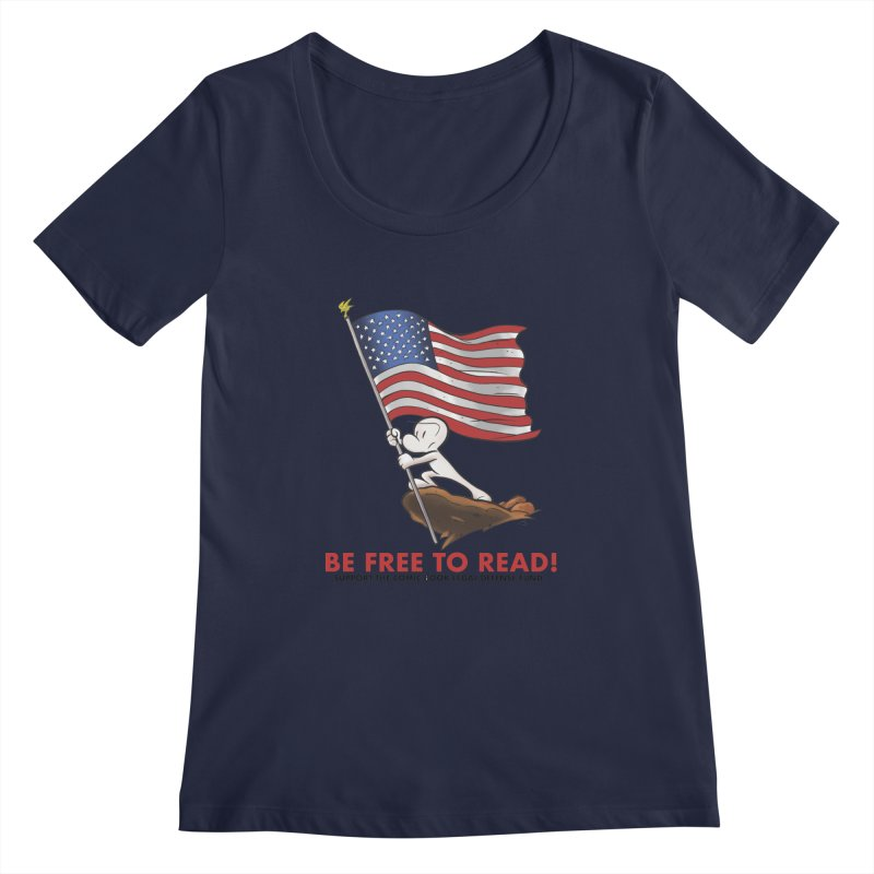BONE with FLAG by JEFF SMITH Women's Scoopneck by COMIC BOOK LEGAL DEFENSE FUND