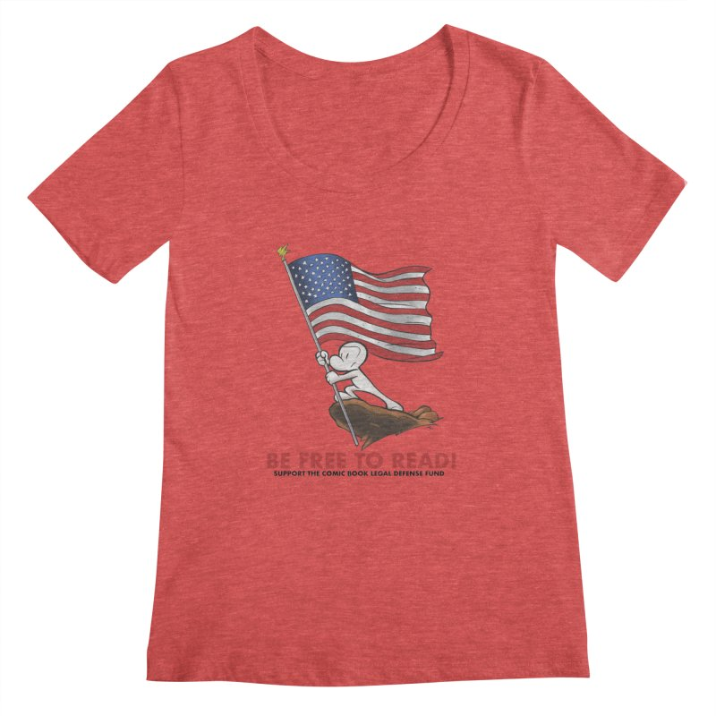 BONE with FLAG by JEFF SMITH Women's Regular Scoop Neck by COMIC BOOK LEGAL DEFENSE FUND