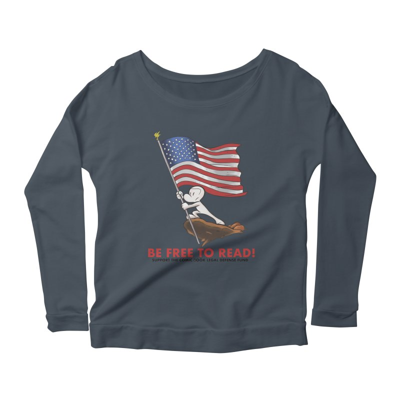 BONE with FLAG by JEFF SMITH Women's Scoop Neck Longsleeve T-Shirt by COMIC BOOK LEGAL DEFENSE FUND