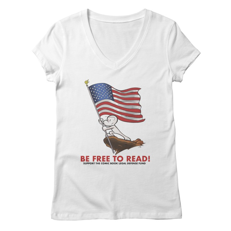 BONE with FLAG by JEFF SMITH Women's Regular V-Neck by COMIC BOOK LEGAL DEFENSE FUND