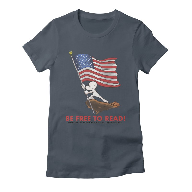 BONE with FLAG by JEFF SMITH Women's Fitted T-Shirt by COMIC BOOK LEGAL DEFENSE FUND