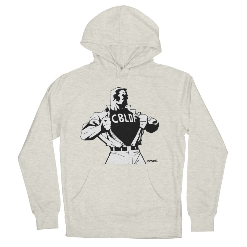 FREE SPEECH HERO by JIM LEE Men's French Terry Pullover Hoody by COMIC BOOK LEGAL DEFENSE FUND