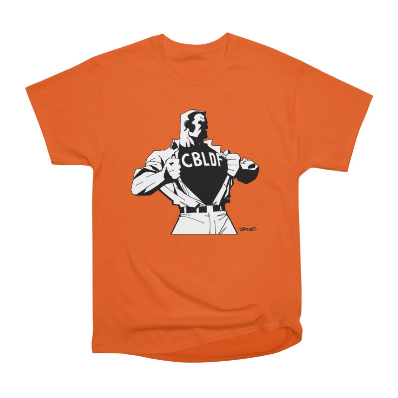 FREE SPEECH HERO by JIM LEE Women's Heavyweight Unisex T-Shirt by COMIC BOOK LEGAL DEFENSE FUND