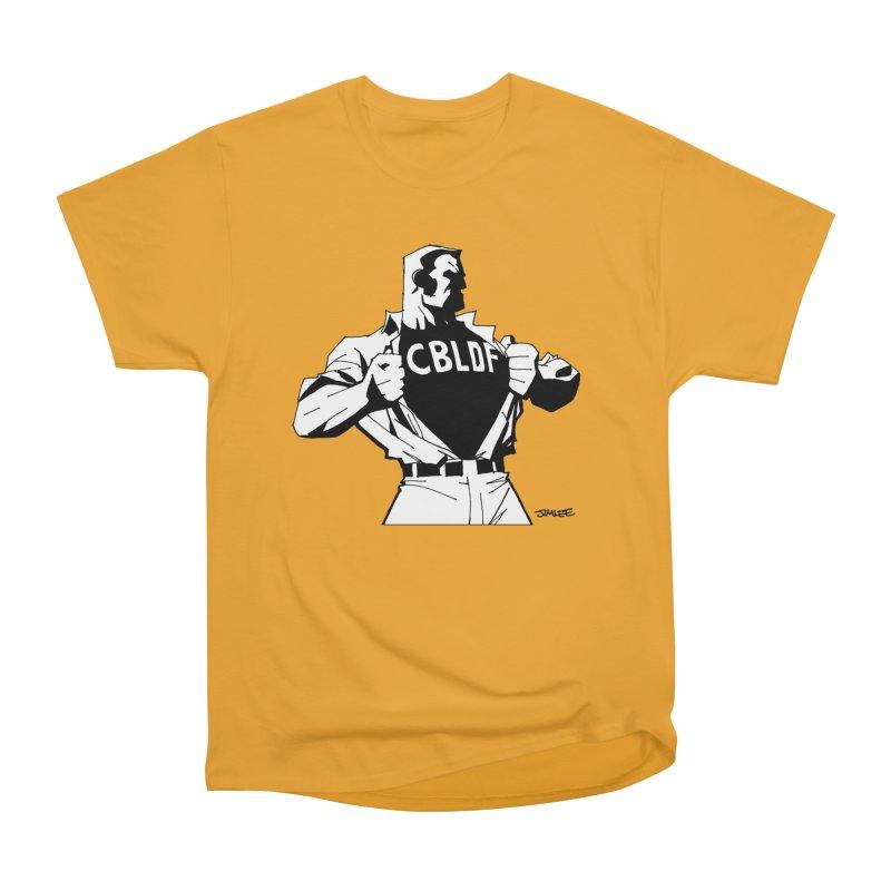 FREE SPEECH HERO by JIM LEE Men's Heavyweight T-Shirt by COMIC BOOK LEGAL DEFENSE FUND