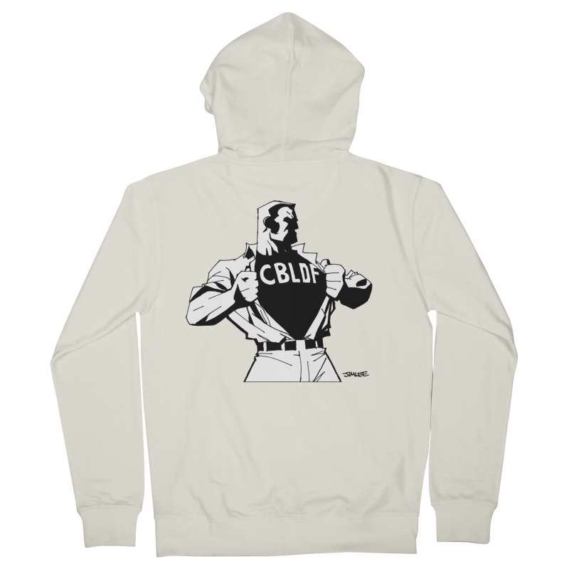 FREE SPEECH HERO by JIM LEE Men's French Terry Zip-Up Hoody by COMIC BOOK LEGAL DEFENSE FUND