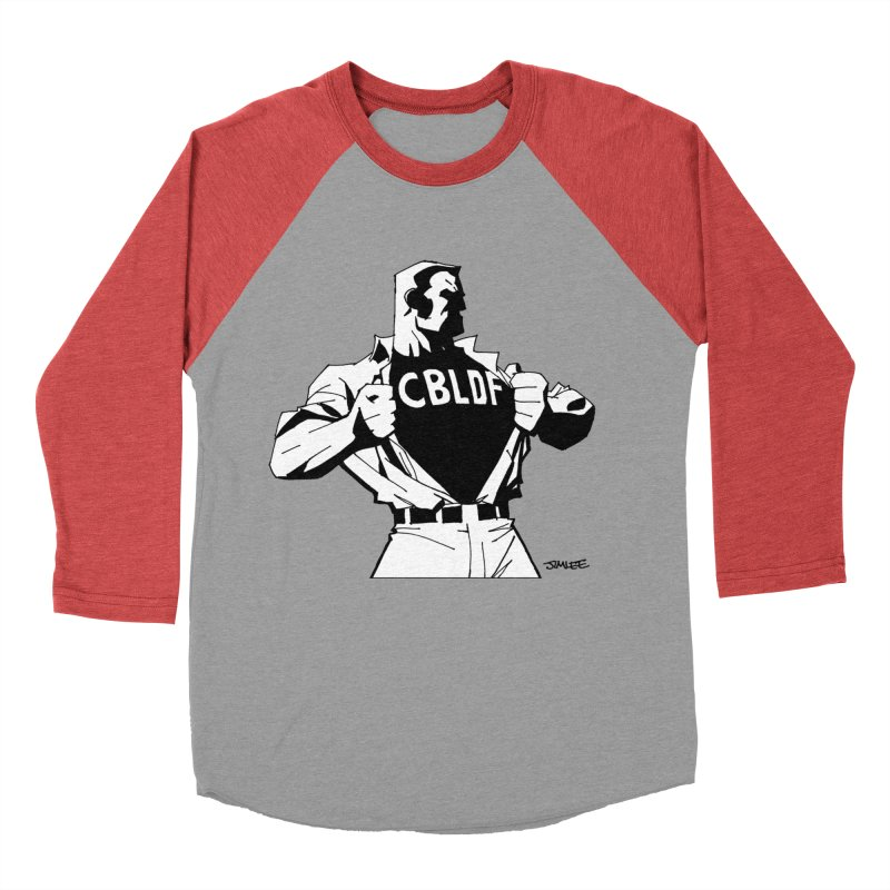 FREE SPEECH HERO by JIM LEE Women's Baseball Triblend Longsleeve T-Shirt by COMIC BOOK LEGAL DEFENSE FUND