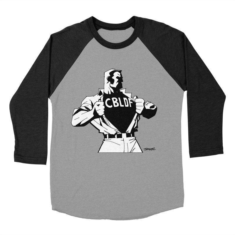 FREE SPEECH HERO by JIM LEE Men's Baseball Triblend Longsleeve T-Shirt by COMIC BOOK LEGAL DEFENSE FUND
