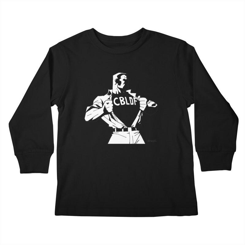 FREE SPEECH HERO by JIM LEE Kids Longsleeve T-Shirt by COMIC BOOK LEGAL DEFENSE FUND