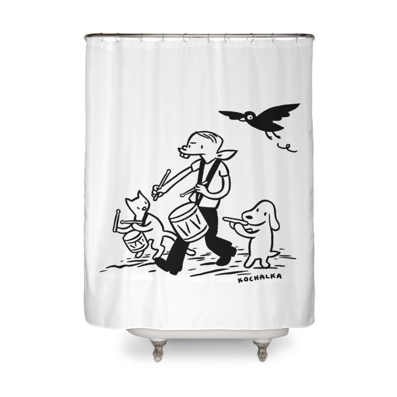Liberty on the March by James Kochalka Home Shower Curtain by COMIC BOOK LEGAL DEFENSE FUND