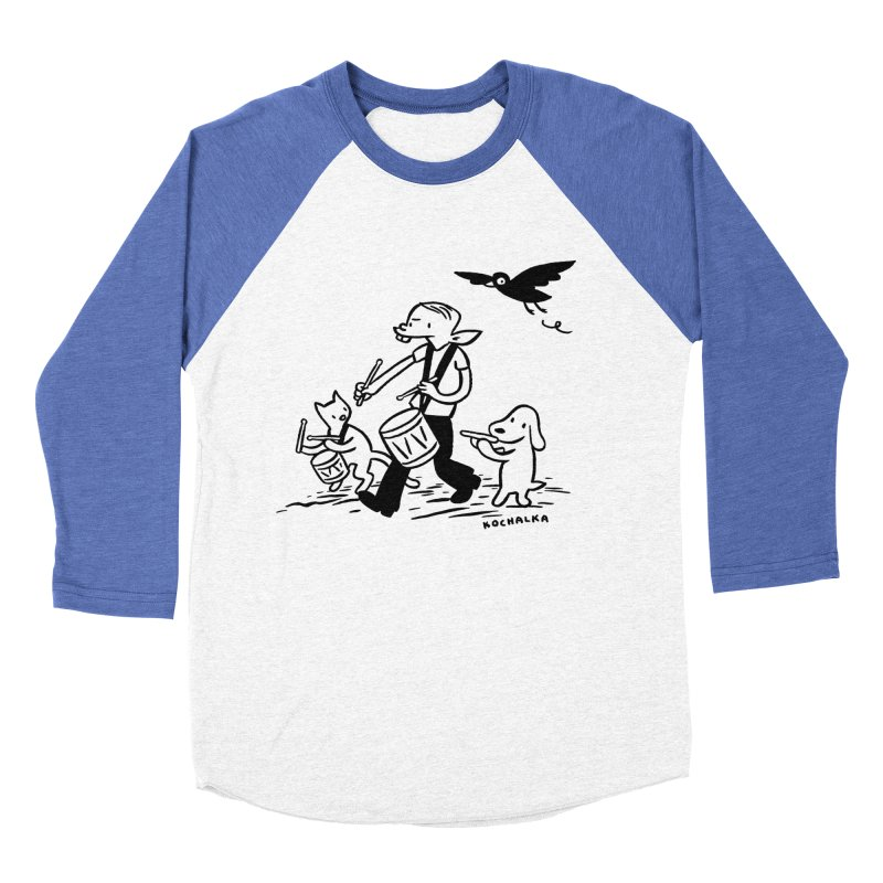 Liberty on the March by James Kochalka Men's Baseball Triblend Longsleeve T-Shirt by COMIC BOOK LEGAL DEFENSE FUND