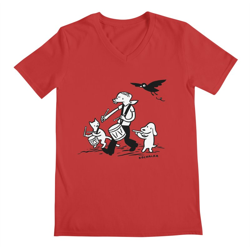 Liberty on the March by James Kochalka Men's Regular V-Neck by COMIC BOOK LEGAL DEFENSE FUND