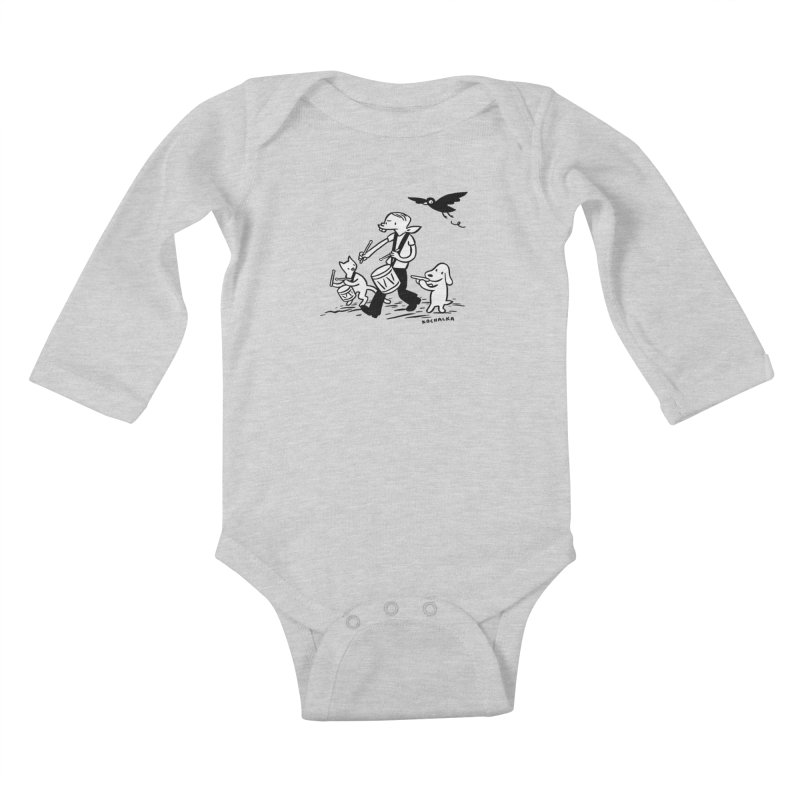 Liberty on the March by James Kochalka Kids Baby Longsleeve Bodysuit by COMIC BOOK LEGAL DEFENSE FUND