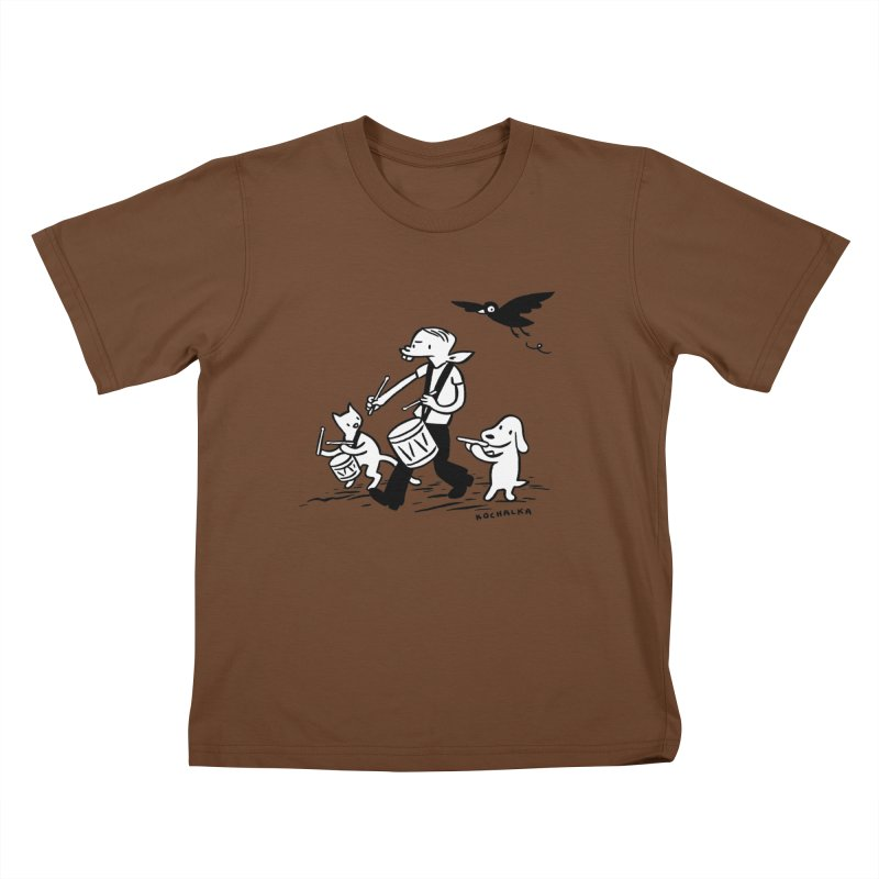 Liberty on the March by James Kochalka Kids T-Shirt by COMIC BOOK LEGAL DEFENSE FUND