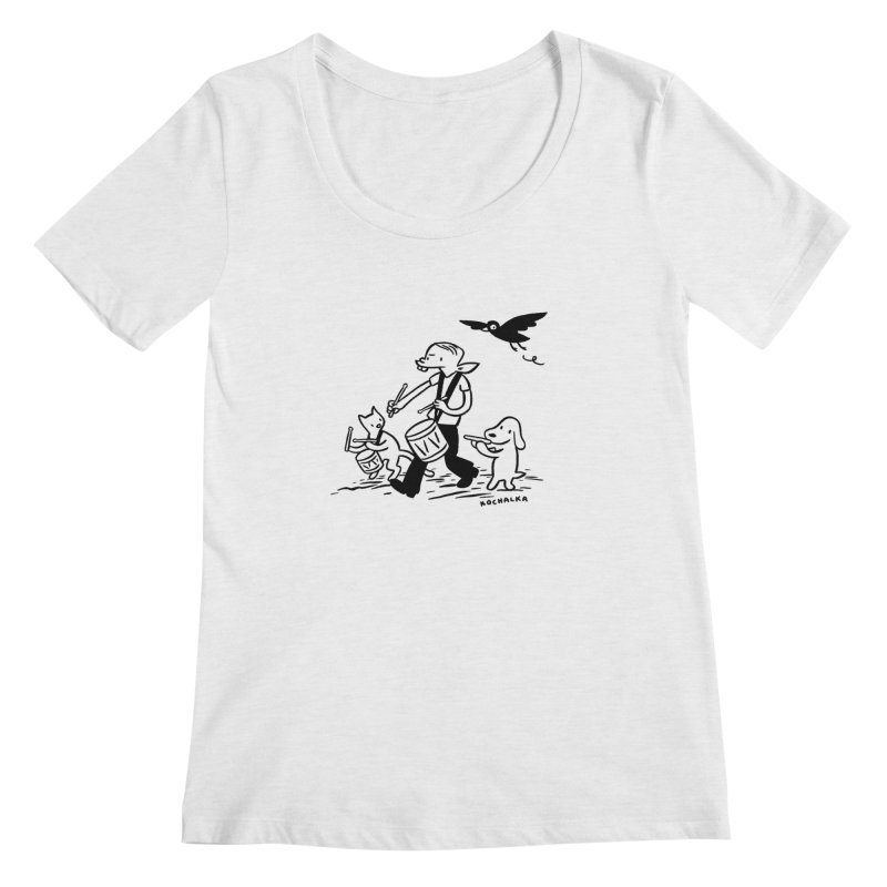 Liberty on the March by James Kochalka Women's Scoopneck by COMIC BOOK LEGAL DEFENSE FUND