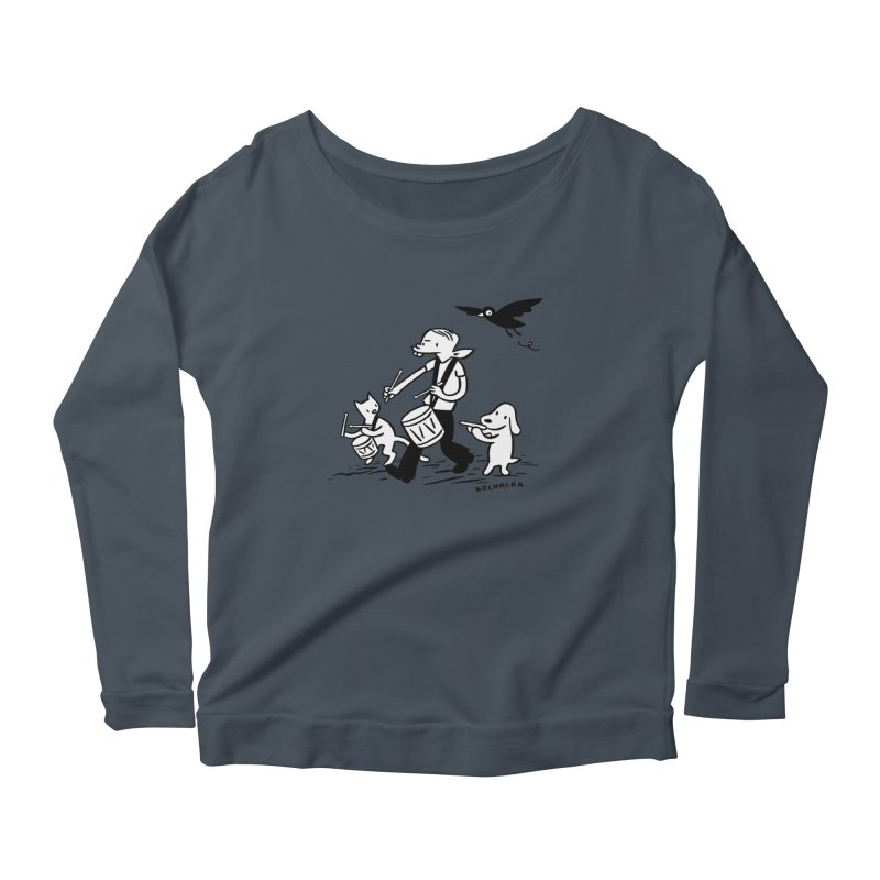 Liberty on the March by James Kochalka Women's Scoop Neck Longsleeve T-Shirt by COMIC BOOK LEGAL DEFENSE FUND