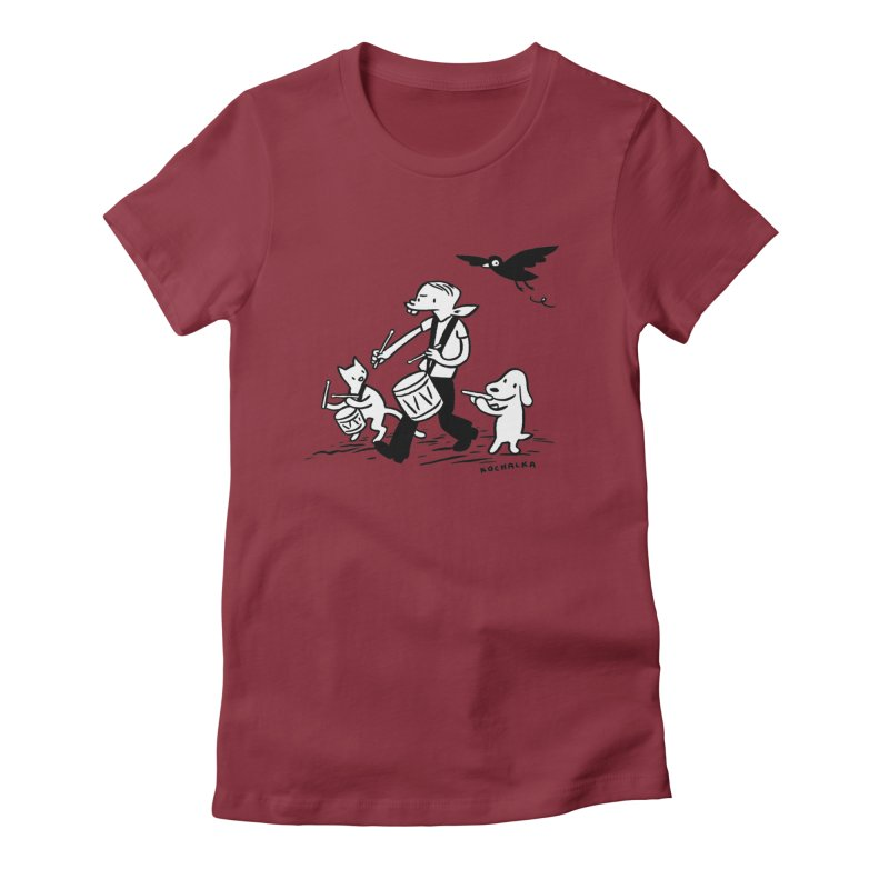 Liberty on the March by James Kochalka Women's Fitted T-Shirt by COMIC BOOK LEGAL DEFENSE FUND