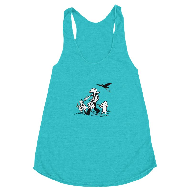 Liberty on the March by James Kochalka Women's Racerback Triblend Tank by COMIC BOOK LEGAL DEFENSE FUND