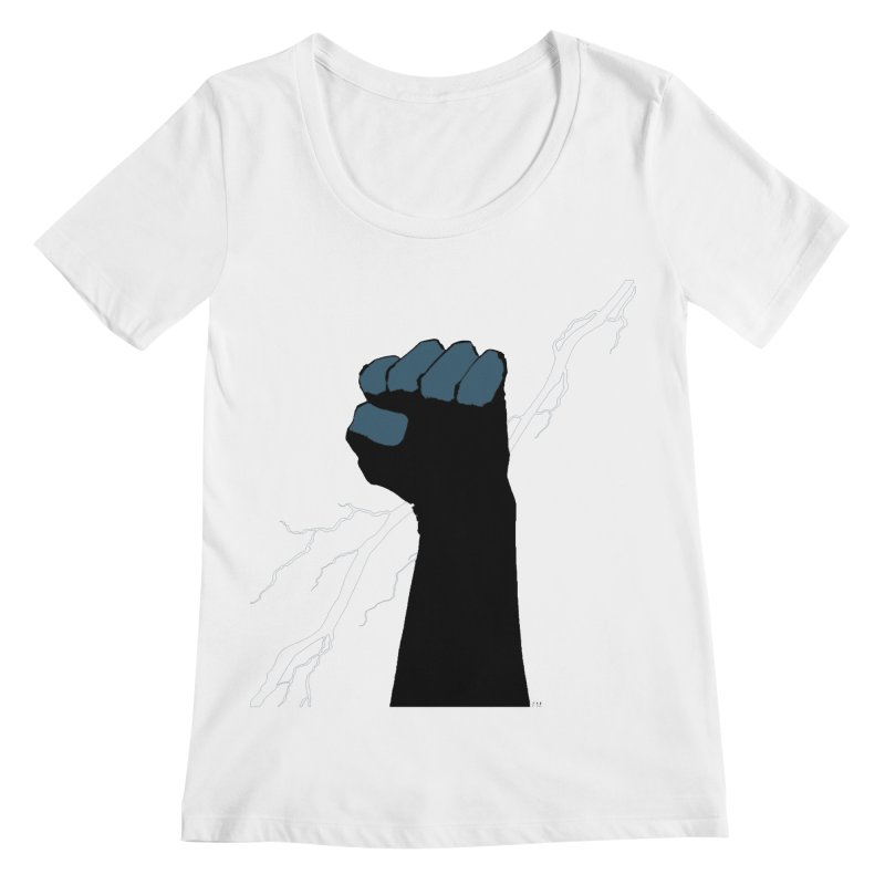 DEFIANT FIST by FRANK MILLER Women's Scoopneck by COMIC BOOK LEGAL DEFENSE FUND