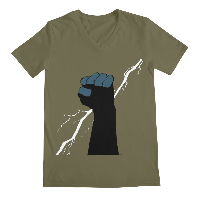 DEFIANT FIST by FRANK MILLER Men's Regular V-Neck by COMIC BOOK LEGAL DEFENSE FUND