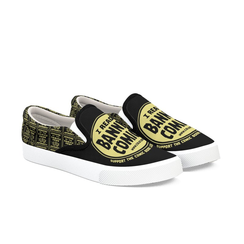 I Read Banned Comics Shoes Men's Slip-On Shoes by COMIC BOOK LEGAL DEFENSE FUND
