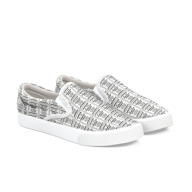 Comics Code Pattern Men's Slip-On Shoes by COMIC BOOK LEGAL DEFENSE FUND