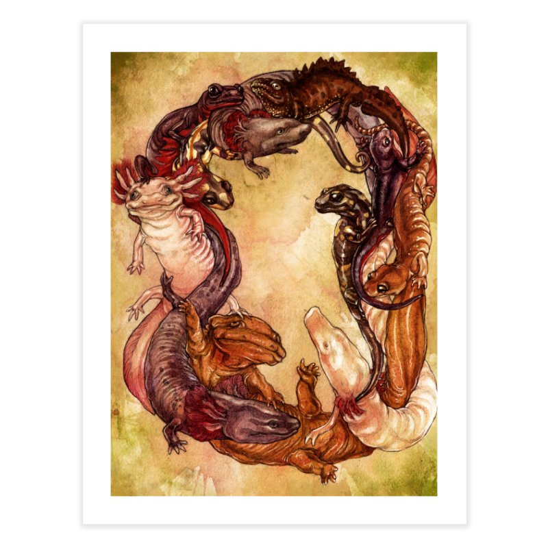 Salamander Wreath Print Home Fine Art Print by SPIDERHOUSE