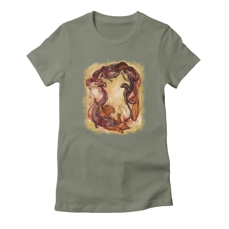 Salamander Wreath Tee Women's Fitted T-Shirt by SPIDERHOUSE