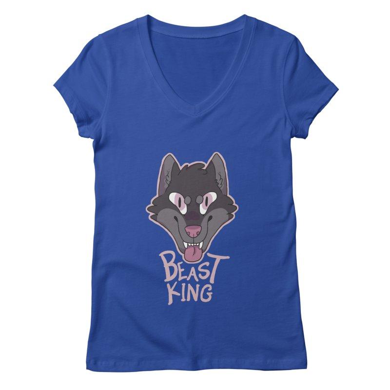 Beast King Women's V-Neck by C.C. Art's Shop