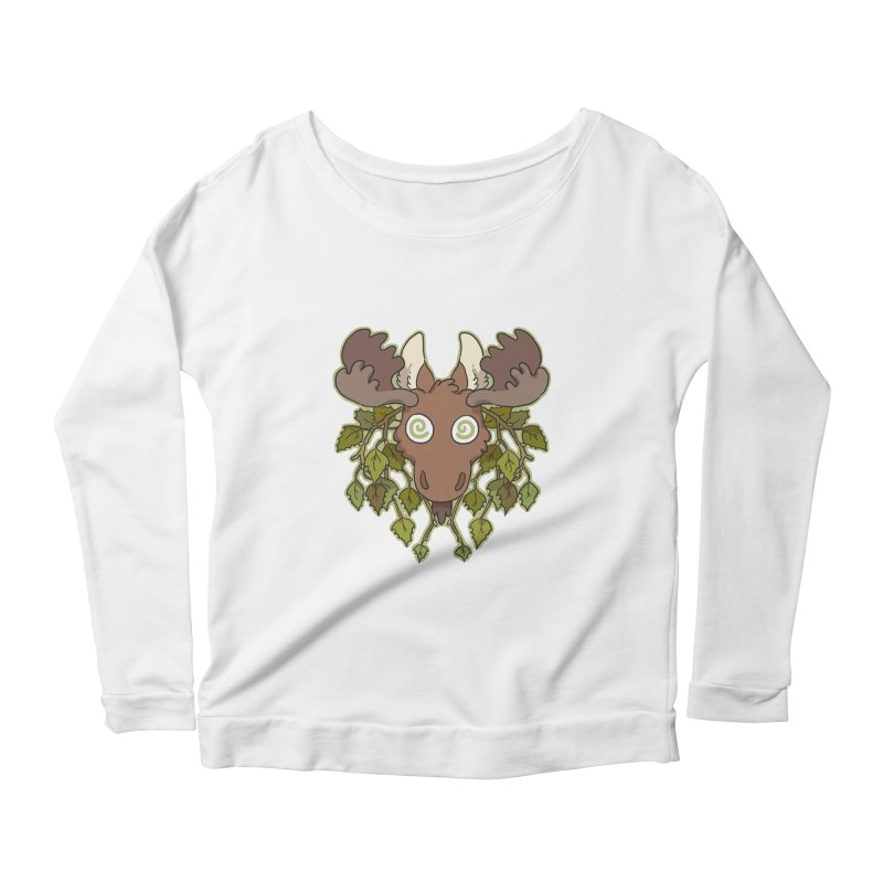 Moose Head Women's Longsleeve Scoopneck  by C.C. Art's Shop