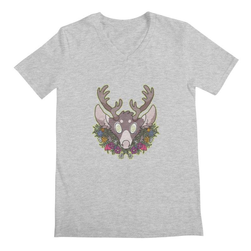 Deer Head Men's V-Neck by C.C. Art's Shop