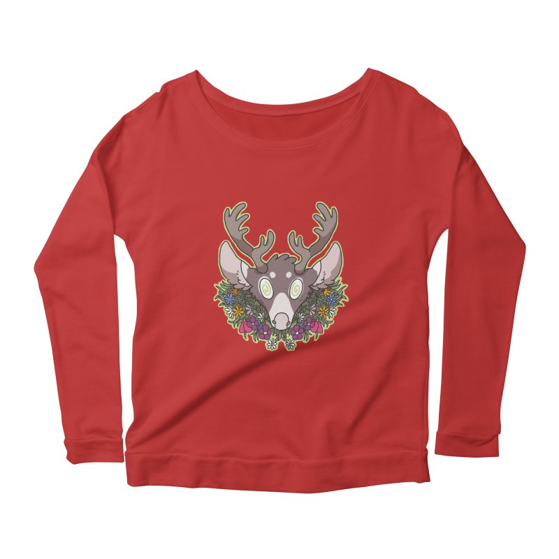Deer Head Women's Longsleeve Scoopneck  by C.C. Art's Shop