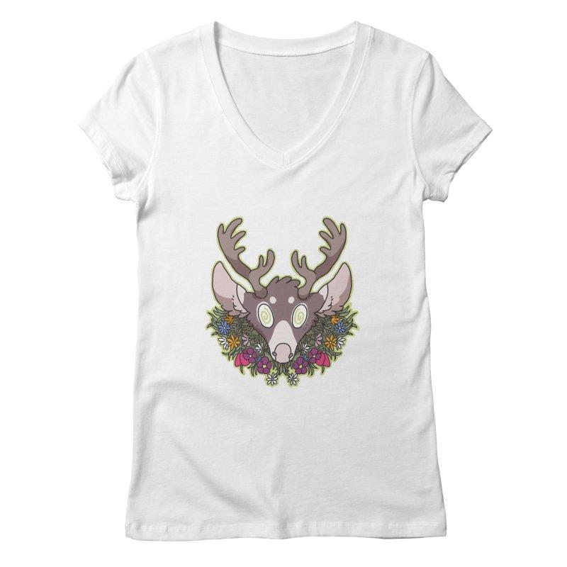 Deer Head Women's V-Neck by C.C. Art's Shop