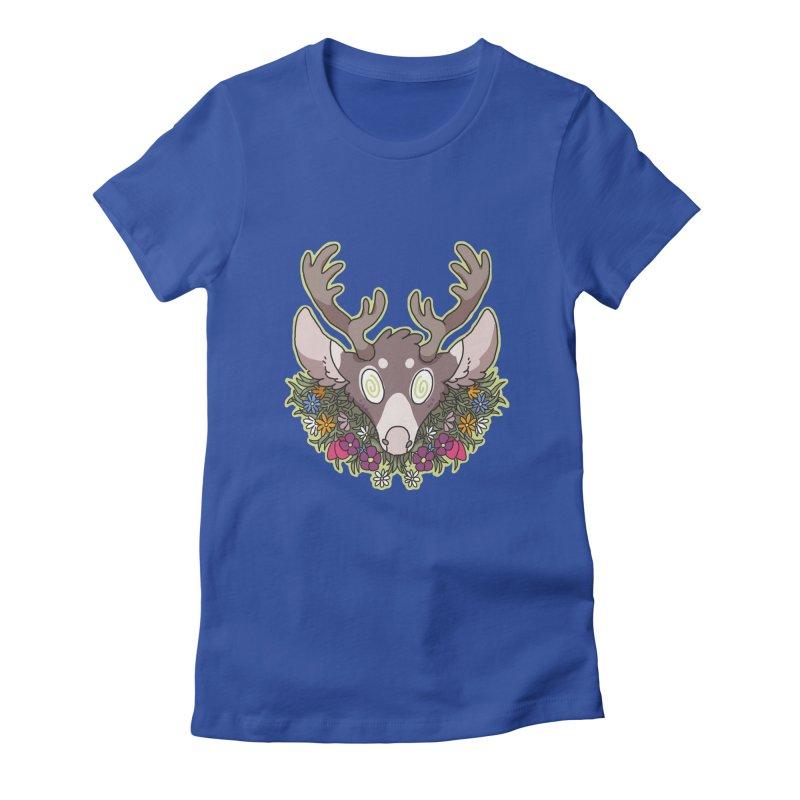 Deer Head Women's Fitted T-Shirt by C.C. Art's Shop
