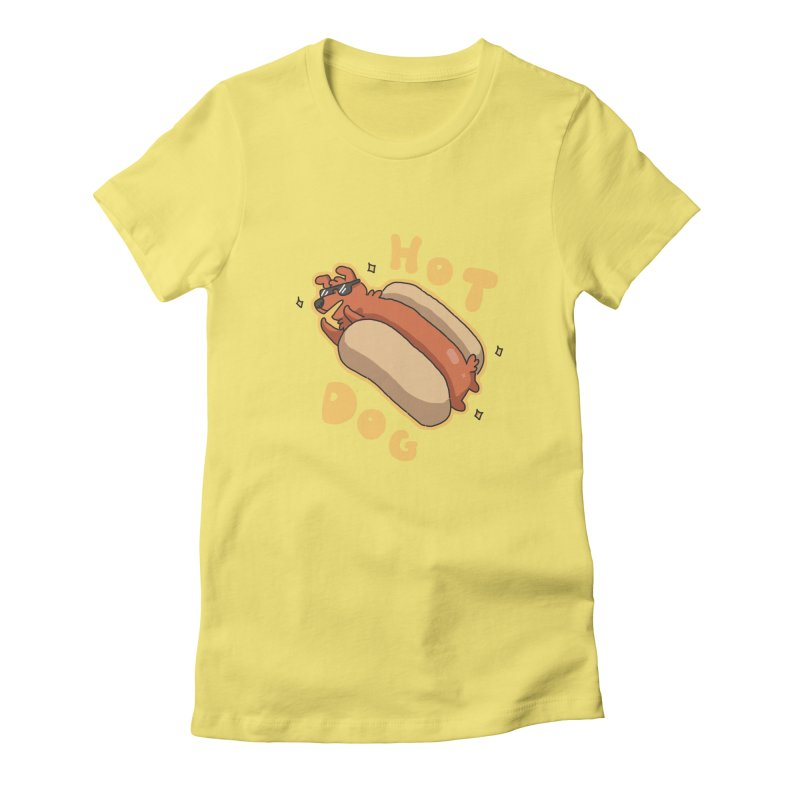 Hog Dog Women's Fitted T-Shirt by C.C. Art's Shop