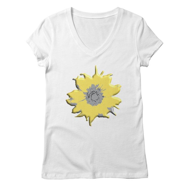 Sunflower Spill Women's V-Neck by C. Cooley's Artist Shop