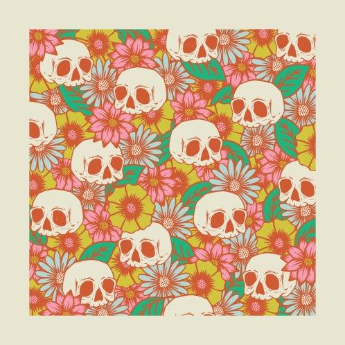 Design for Retro Skull and Flower Pattern