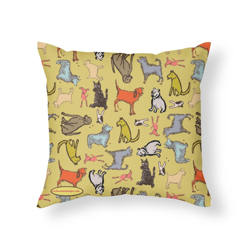 Dog Party Chartreuse Home Throw Pillow by Ceci Bowman's Product Site