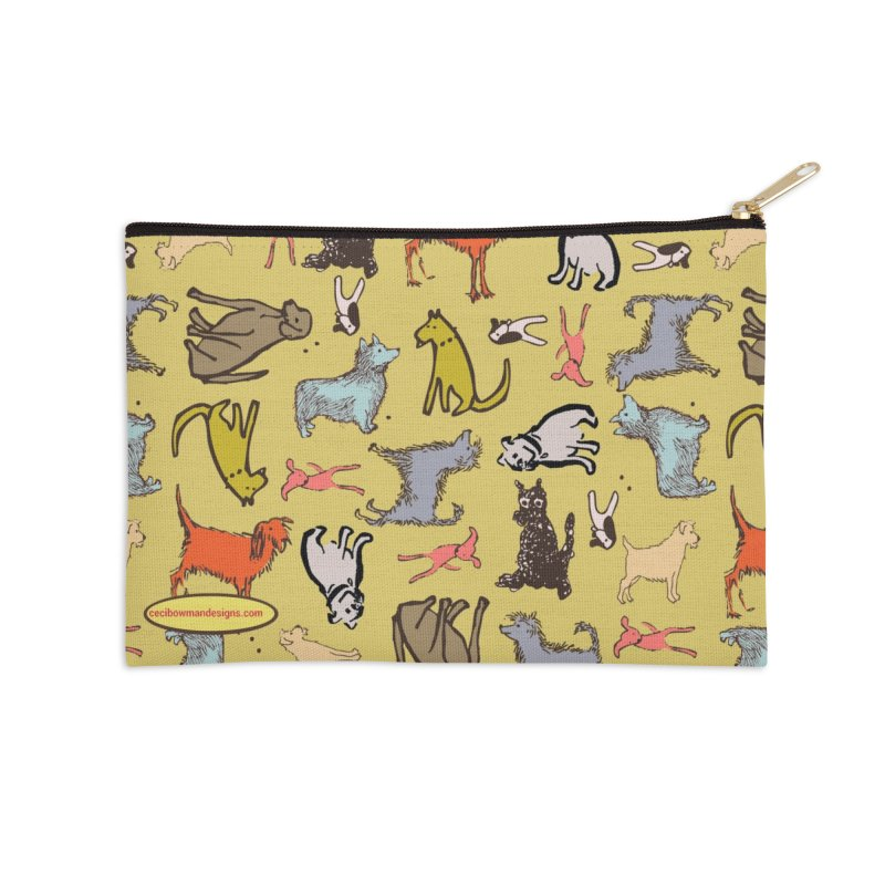 Dog Party Chartreuse Accessories Zip Pouch by Ceci Bowman's Product Site