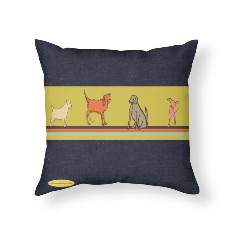 Dog Stripe Home Throw Pillow by Ceci Bowman's Product Site