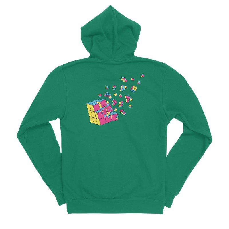 Rubixplosion II Women's Sponge Fleece Zip-Up Hoody by Cedric Lopez Fernandez