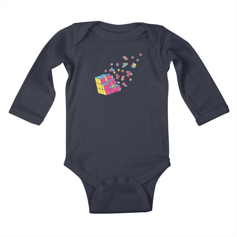 Rubixplosion II Kids Baby Longsleeve Bodysuit by Cedric Lopez Fernandez