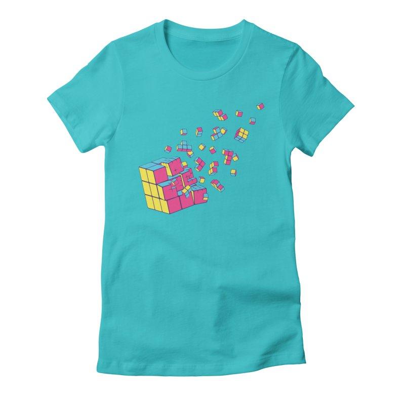 Rubixplosion II Women's Fitted T-Shirt by Cedric Lopez Fernandez