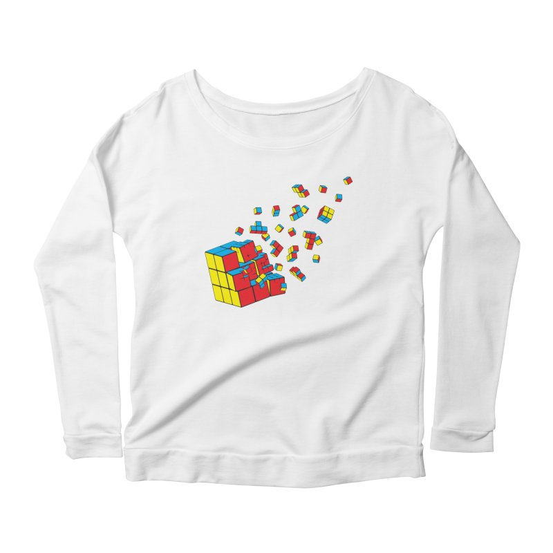 Rubixplosion I Women's Scoop Neck Longsleeve T-Shirt by Cedric Lopez Fernandez