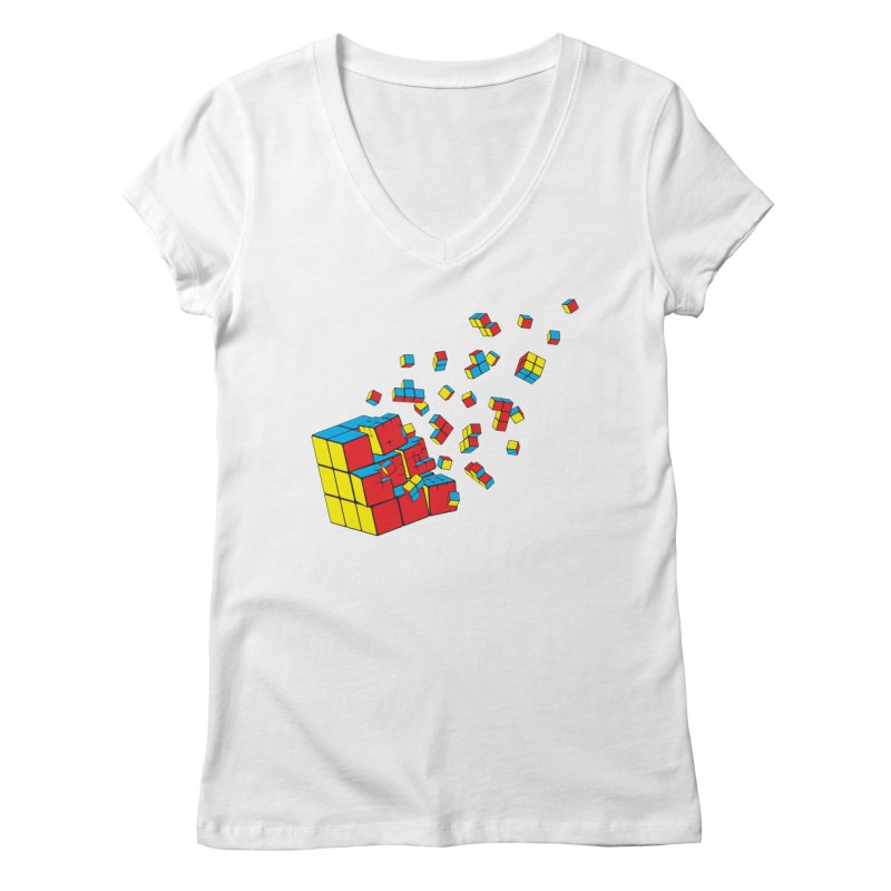 Rubixplosion I Women's Regular V-Neck by Cedric Lopez Fernandez