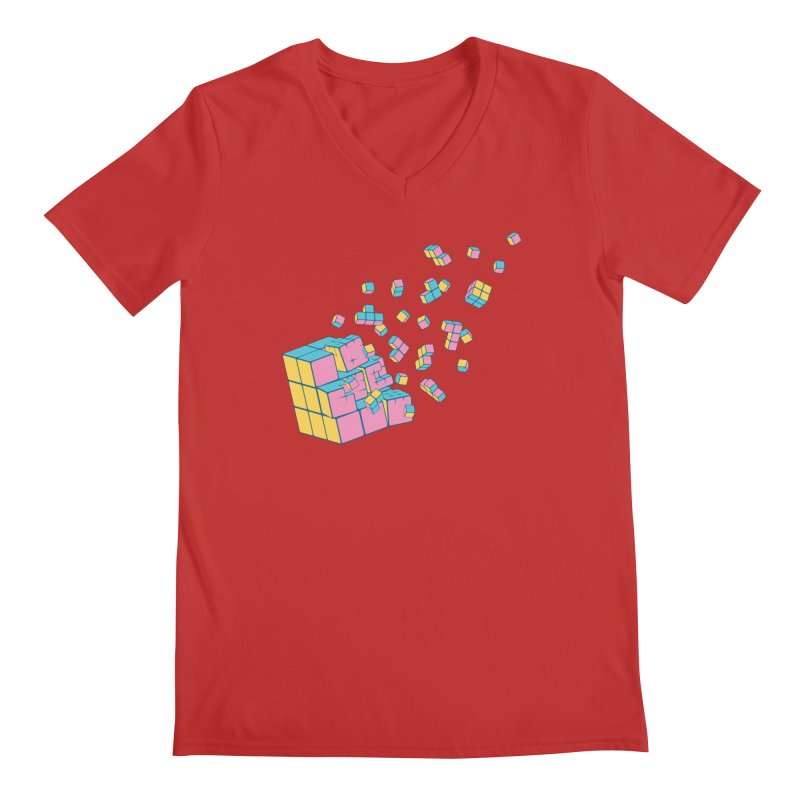 Rubixplosion III Men's Regular V-Neck by Cedric Lopez Fernandez