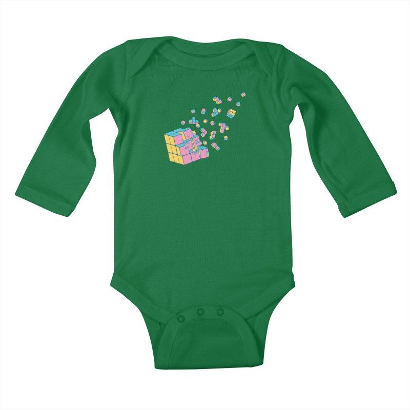 Rubixplosion III Kids Baby Longsleeve Bodysuit by Cedric Lopez Fernandez