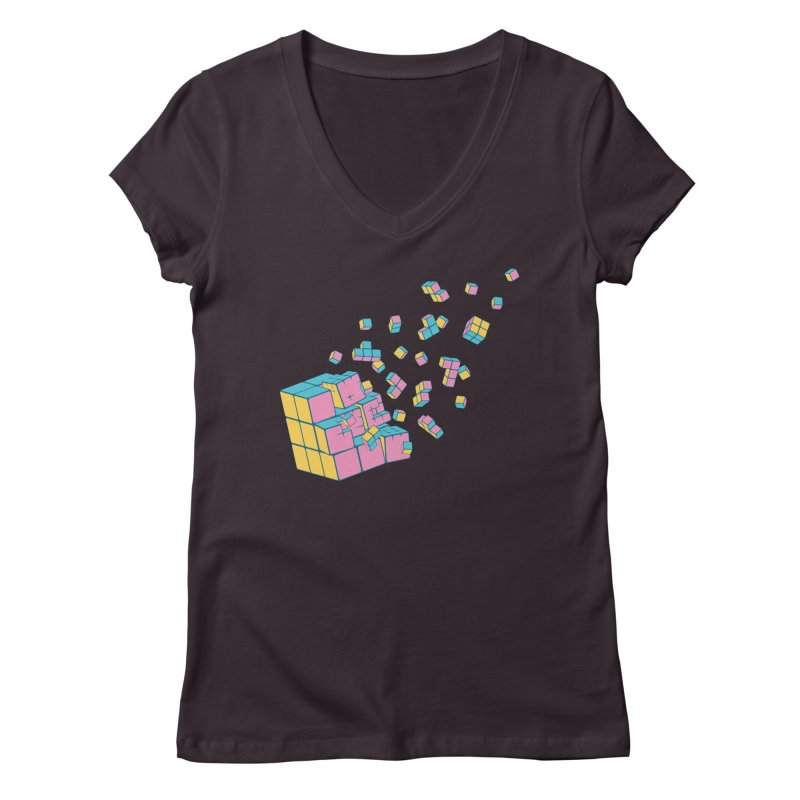 Rubixplosion III Women's Regular V-Neck by Cedric Lopez Fernandez