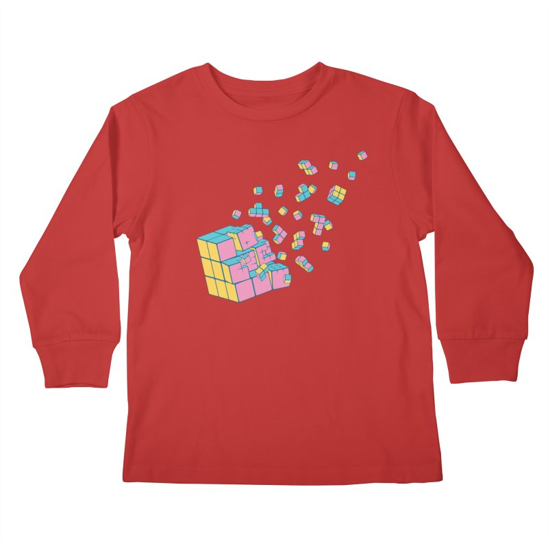 Rubixplosion III Kids Longsleeve T-Shirt by Cedric Lopez Fernandez