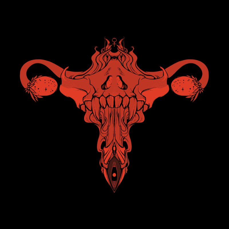 Death Metal Skull Uterus And Ovaries, Feminist Art Accessories Sticker by CellsDividing's Artist Shop